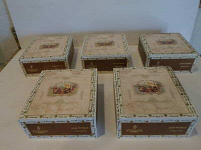 """Lot Of 5 New World Toro """"empty"""" Wood Cigar Boxes   Good Condition"""