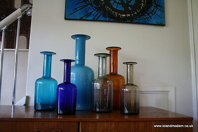Large Collection 6 Holmegaard Gul Vases inc. Labelled XL Cased Blue Opal Danish