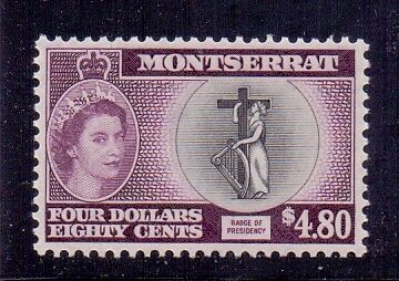 Montserrat. $4.80 black & purple. LH mint. QE2, Type 1. Issued1955. SG149