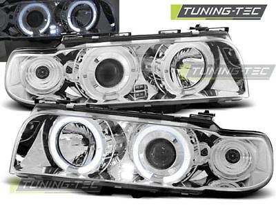 Coppia Fari Anteriori Bmw E38 06.94 - 08.98 Angel Eyes Chrome