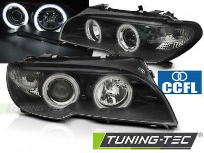 Coppia Fari Anteriori Bmw E46 04.03-06 Coupe Cabrio Angel Eyes Ccfl Black