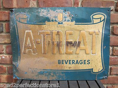 Old A-TREAT Beverages Sign 'House of Treats' Embossed Tin Advertising Drink Soda