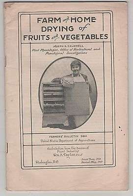 USDA Farmers Bulletin # 984 1919 Drying of Fruits and Vegetables.  Agriculture