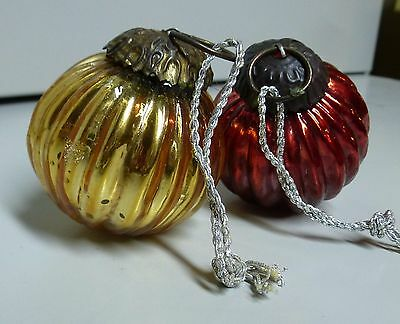 """Set of 2"""" RIBBED 1 RED 1 Gold MERCURY GLASS KUGEL ORNAMENTS"""