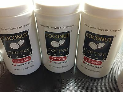 3 Packs,19.05 oz/Pack Coconut Coffee by CACAFE, Made in USA, 54 Servings