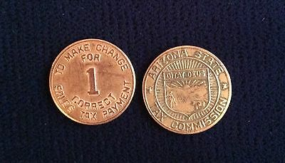 Arizona State Tax Commission Sales Tax Token 1 To Make Correct Change (Lot Of 2)