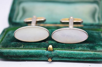 Vintage yellow metal cufflinks with an Art Deco style and white insert #C824
