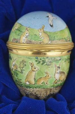 "Rare HALCYON DAYS 2 1/4"" WATERSHIP DOWN Rabbits, Enamel EGG Box MINT Boxed 1978"