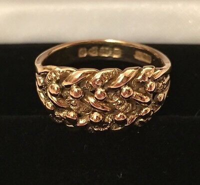 Gold 18ct Keeper Ring Victorian Antique 'Size N' 6.6g c. 1886 Chester Carat 18KT