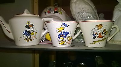 Early Wade Pottery Wadeheath Childrens Teaset 1930's Disney Teapot and Two Cups