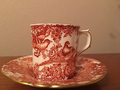 """Royal Crown Derby """"RED AVES"""" small cup and saucer"""