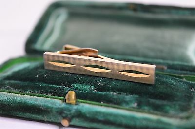 Vintage yellow metal tie clip with Art Deco design #327