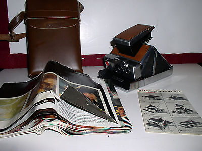 Vintage Polaroid SX-70 Land Camera With Original COWHIDE Leather Case and Papers