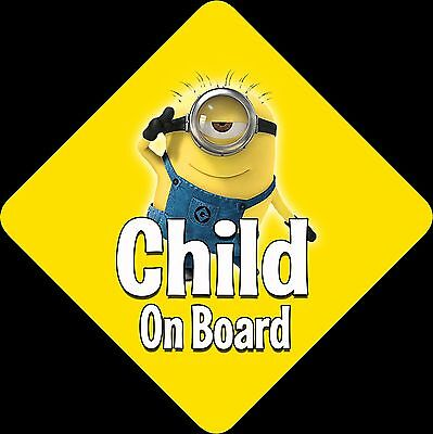 Minions Unpersonalised Car Sign Baby/Child On Board ~ Minions Yellow Child