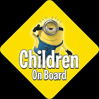 Minions Unpersonalised Car Sign Baby/Child On Board ~ Minions Yellow Children