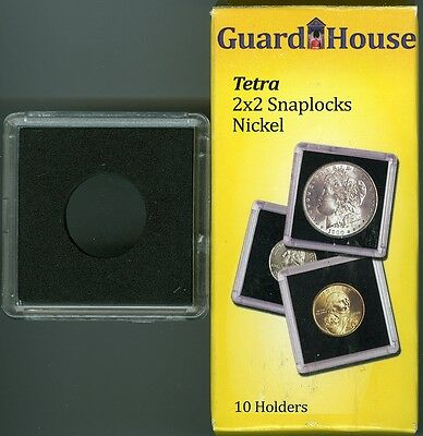 Guardhouse Tetra Plastic 2X2 Snaplock 10 Coin Holders For Nickels