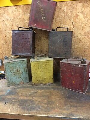 Vintage Shell Petrol Cans X 6