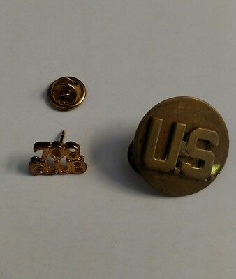 Vintage lot of 2 Military Pins 700 Club and U.S. Round brass pin
