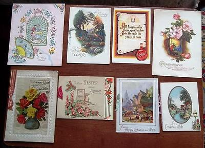 VINTAGE DECO GREETINGS CARDS,c1930s-40s,8 CARDS