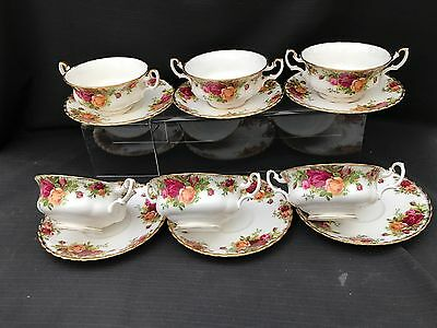 Royal Albert Old Country Rose Soup Coups And Saucers X 6