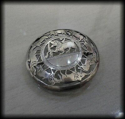 Vintage Mexican 925 Solid Sterling Silver Zoomorphic Animal Brooch