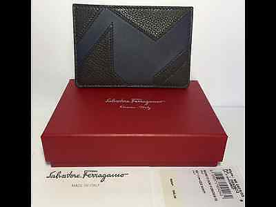 Authentic Salvatore Ferragamo Leather Card Case/ID Holder Brown & Navy