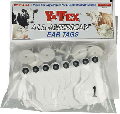 26 - 50* White Numbered Small Cattle ID Ear Tags