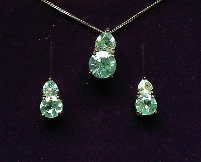 Topaz and Silver (925) Necklace and Stud Earring Set New
