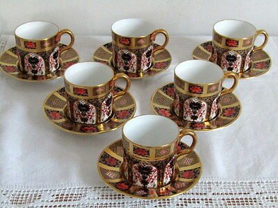 Royal Crown Derby -  6 Beautiful, Matching Solid Gold Band Coffee Cups & Saucers