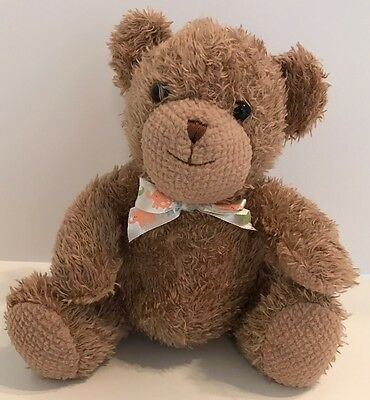"""Tykes By Carters Brown Teddy Bear Plush 8"""" Rattle Baby Lovey Toy Stuffed Animal"""
