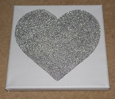 Grey & Silver Glitter Sparkly Love Heart Canvas Wall Art Picture