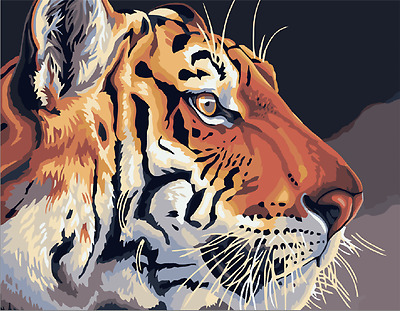 "16X20"" Paint By Number Kit DIY Acrylic Painting on Canvas Tiger 1123"