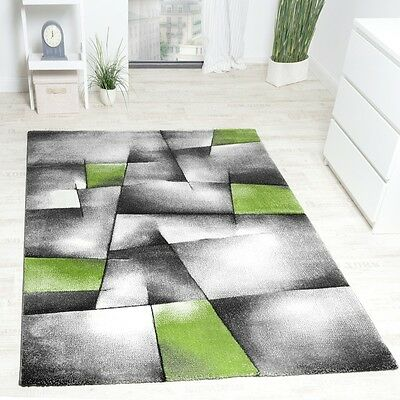 Grey Lime Green Rug Abstract Geometric Patterned Thick Carpet Small Extra Large