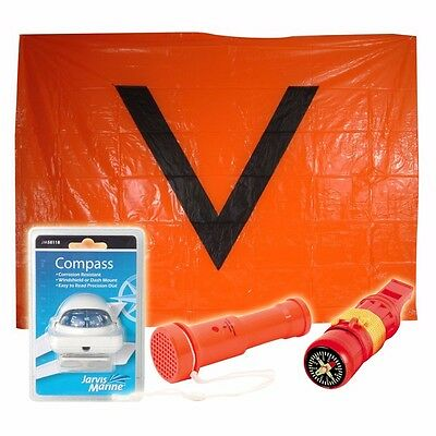 Jarvis Marine Boating safety Pack V Sheet compass whistle safety blaster horn