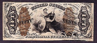 US 50c Fractional Currency 3rd Issue Wide Surcharge FR 1366 VF-XF