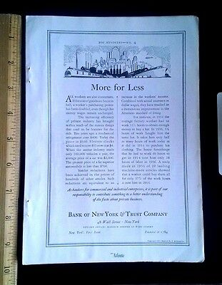 1938 Vintage Ad Bank of New York & Trust Company with Art Deco Industrial Scene