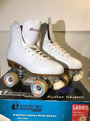 Ladies Chicago White Leather Roller Skates Size 9 Pro Star Womens Fantastic