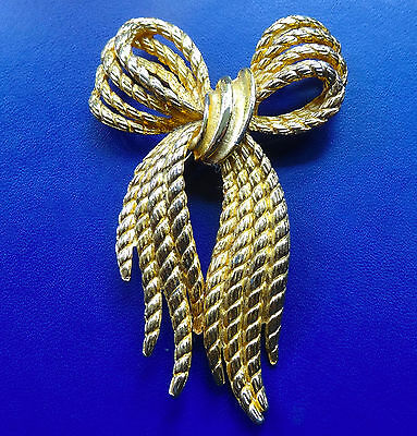 "vintage BIG 2.6"" textured ribbon bow brooch 1960s style -D439"