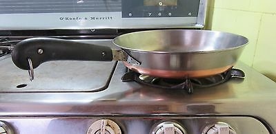 "VTG REVERE WARE 10"" Frying pan skillet copper clad double circle pre-1968 no lid"