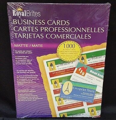 Royal Brites 1000 Matte Business Cards Printer Paper Ink Jet 28992 Made in USA