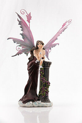 Red Fairy Leaning on Pillar with Roses Legends of Avalon Figurine