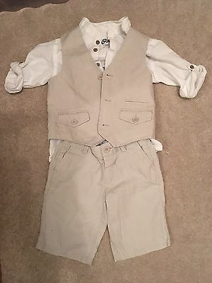 Monsoon Boys Linen Suit Age 4-5 With Shirt. Excellent Condition