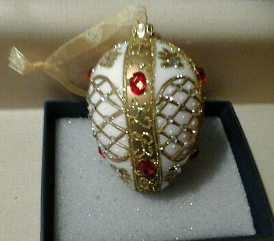 Sorelle Handcrafted Egg Shape Ornament Glass Multi Colored Gift,  Nib