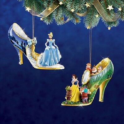 Disney's Once Upon a Slipper Ornaments - Cinderella and Snow White  set 1