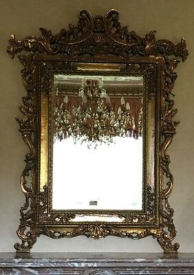 Ornate Gold French Style Overmantle Mirror