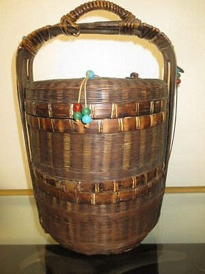 "17"" Antique Chinese Lunch Box / Wedding Basket / Sewing Box W/beads & Coins Nr"