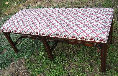 Vintage Hickory House Upholstered Mahogany 4' Bench