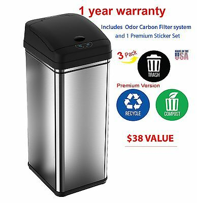 Best 13 Gallons Automatic Touch- free Sensor Stainless Steel Trash Can Kitchen