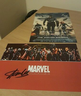 Marvel Signed A4 Posters - Captain America, Stan Lee Signature, Cast of avengers