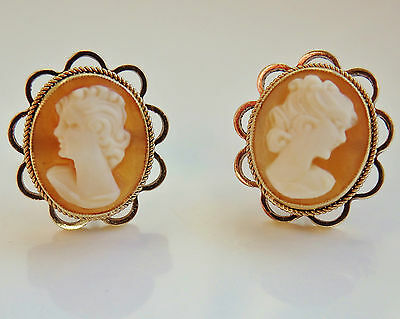 Fine Quality Vintage Pair 9ct Gold Shell Cameo Stud Earrings c1940